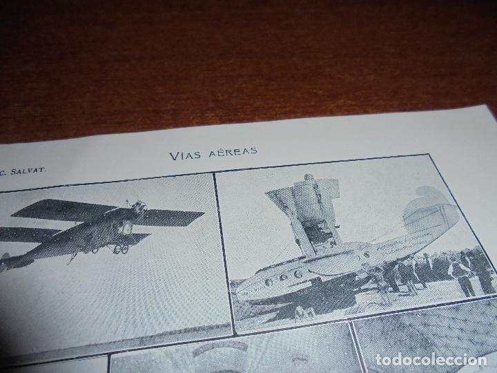 Coleccionismo: ANTIGUA LÁMINA DE 1919: VÍAS AÉREAS. AEROPLANO. MONOPLANO. HIDROPLANO. AVIÓN CORREO. DIRIGIBLE. - Foto 2 - 171642754