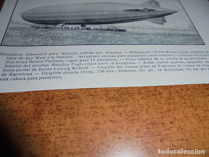 Coleccionismo: ANTIGUA LÁMINA DE 1919: VÍAS AÉREAS. AEROPLANO. MONOPLANO. HIDROPLANO. AVIÓN CORREO. DIRIGIBLE. - Foto 3 - 171642754