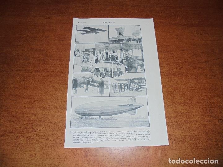 ANTIGUA LÁMINA DE 1919: VÍAS AÉREAS. AEROPLANO. MONOPLANO. HIDROPLANO. AVIÓN CORREO. DIRIGIBLE. (Coleccionismo - Laminas, Programas y Otros Documentos)