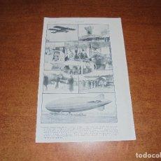 Coleccionismo: ANTIGUA LÁMINA DE 1919: VÍAS AÉREAS. AEROPLANO. MONOPLANO. HIDROPLANO. AVIÓN CORREO. DIRIGIBLE. . Lote 171642754