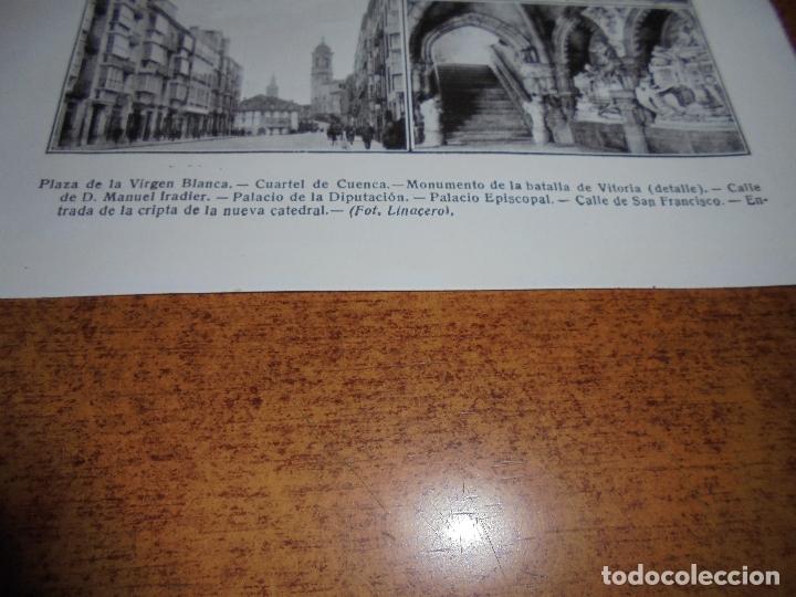 Coleccionismo: ANTIGUA LÁMINA DE 1919: VITORIA. VIRGEN BLANCA. CUARTEL DE CUENCA. C. MANUEL IRADIER. PALACIO EPISCO - Foto 3 - 171642772