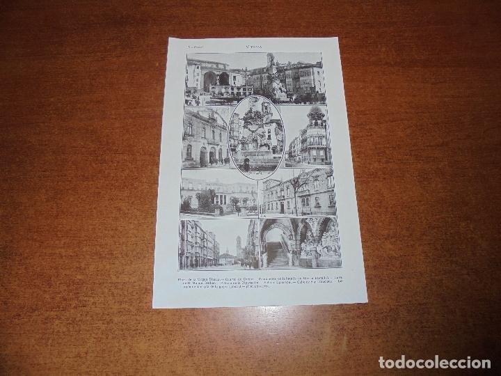 ANTIGUA LÁMINA DE 1919: VITORIA. VIRGEN BLANCA. CUARTEL DE CUENCA. C. MANUEL IRADIER. PALACIO EPISCO (Coleccionismo - Laminas, Programas y Otros Documentos)