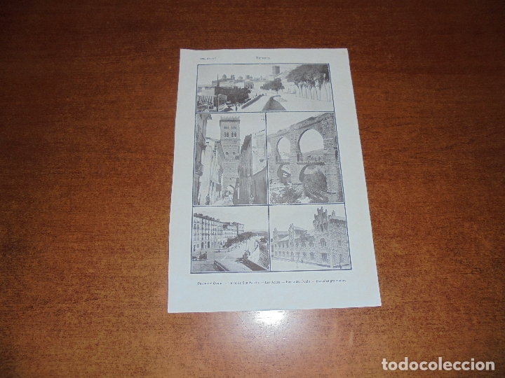 ANTIGUA LÁMINA DE 1919: TERUEL. PASEO DEL ÓVALO. TORRE DE SAN MARTÍN. LOS ARCOS. ESCUELAS GRADUADAS. (Coleccionismo - Laminas, Programas y Otros Documentos)