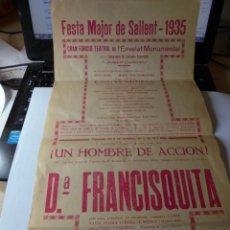 Coleccionismo: MAGNIFICO ANTIGUO CARTEL DE LA FIESTA MAYOR DE SALLENT DEL 1935. Lote 171680903