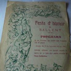 Coleccionismo: MAGNIFICO ANTIGUO PROGRAMA FESTA D'HUMOR DE SALLENT DEL 1906. Lote 171681135