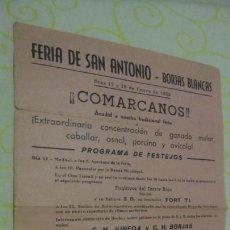 Coleccionismo: PROGRAMA FESTEJOS.FERIA SAN ANTONIO.BORJAS BLANCAS.LERIDA 1955. Lote 171771808