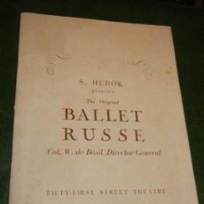 Coleccionismo: PROGRAMA FIFTY-FIRST STREET THEATRE NUEVA YORK - BALLET RUSSE 1940. Lote 171826693