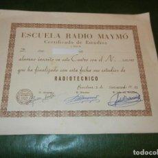 Coleccionismo: DIPLOMA DE RADIOTECNICO, CONCEDE ESCUELA RADIO MAYMO,- 1961. Lote 171828047