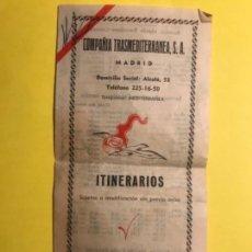 Coleccionismo: COMPAÑÍA TRANSMEDITERRANEA. ITINERARIOS 1960 COMUNICACIONES CANARIAS Y SAHARA. Lote 172034027
