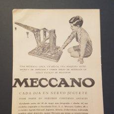 Coleccionismo: HOJA PUBLICIDAD JUGUETES MECCANO AÑOS 50. Lote 172510450
