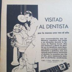 Coleccionismo: HOJA PUBLICIDAD AÑOS 30 VISITA AL DENTISTA DE DENTÍFICO DENS. Lote 172682019