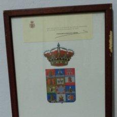 Coleccionismo: ANTIGUA LAMINA ESCUDO DIPUTACION DE CADIZ CON CARTA DE VISITA. Lote 172799225