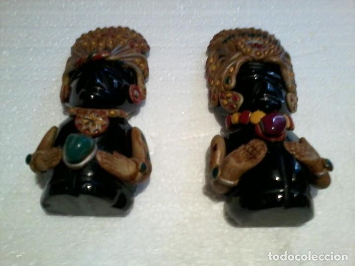 PAREJA DE FIGURAS AZTECAS TALLADAS EN ONIX 11CM (Coleccionismo - Varios)
