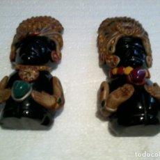 Coleccionismo: PAREJA DE FIGURAS AZTECAS TALLADAS EN ONIX 11CM. Lote 172955534