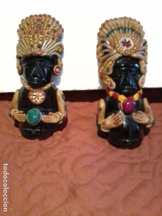 Coleccionismo: Pareja de figuras Aztecas talladas en Onix 11cm - Foto 2 - 172955534