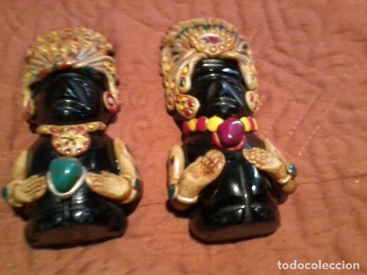 Coleccionismo: Pareja de figuras Aztecas talladas en Onix 11cm - Foto 4 - 172955534