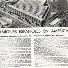 Coleccionismo: AÑO 1959 RECORTE PRENSA CAMION BARREIROS DEMOSTRACIONES EN ARGENTINA CHILE PARAGUAY TRANSPORTE. Lote 172964177