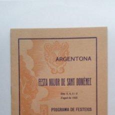 Coleccionismo: ULTIMO PROGRAMA DE LA REPÚBLICA AÑO 1935 , FIESTA MAYOR DE SANT DOMENEC EN ARGENTONA. Lote 172971290
