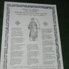 Coleccionismo: GOIGS-GOZOS DEL GLORIOS MARTIR SANT BALDIRI PATRO SANT BOI DE LLOBREGAT, RICARD VIVES NUM.1171 1983. Lote 173010410