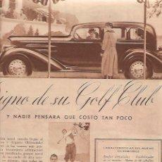 Coleccionismo: AÑO 1934 RECORTE PRENSA PUBLICIDAD OLDSMOBILE AUTOMOVIL COCHE. Lote 173255882
