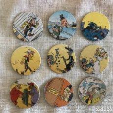 Coleccionismo: LOTE 9 TAZOS POGS CAPS - LUCKY LUKE MERCHANDISING 1996 - TAPS'S OFFICIEL. Lote 173420799
