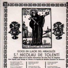 Coleccionismo: GOIGS DEL MIRACULÓS ST. NICOLAU DE TOLENTÍ, MIRALLES, , CASTELLVÍ DE ROSANES (IMP. CLIMAS). Lote 173437090