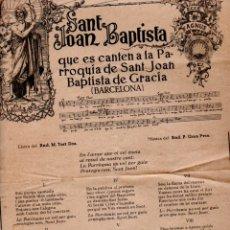 Coleccionismo: GOIGS EN HONOR DE SANT JOAN BAPTISTA, GRÀCIA, 1953 . Lote 173459954