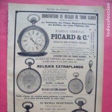 Coleccionismo: PICARD Y CIA.-MANUFACTURA DE RELOJES DE TODAS CLASES.-FABRICA GERMINAL.-RELOJES.-PUBLICIDAD.AÑO 1905. Lote 173844490