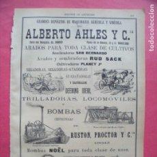Coleccionismo: ALBERTO AHLES Y CIA.-MAQUINARIA AGRICOLA Y VINICOLA.-ARADOS.-SEGADORA.-LOCOMOVILES.-PUBLICIDAD.-1905. Lote 173844663