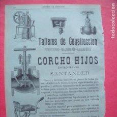 Coleccionismo: CORCHO HIJOS.-TALLERES DE CONSTRUCCION.-FUNDICIONES.-CALDERERIA.-PUBLICIDAD.-SANTANDER.-AÑO 1905.. Lote 173845135