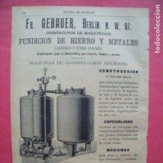Coleccionismo: PEDRO FERLA.-INGENIERO.-FUNDICION DE HIERRO Y METALES.-CALDERAS.-COBRE.-PUBLICIDAD.-BARCELONA.-1905.. Lote 173845763