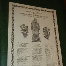 Coleccionismo: GOIGS-GOZOS DE SANT CARLES BORROMEU, VENERAT AL TEMPLE PARROQUIAL DE TEIA, RICARD VIVES NUM.724 1973. Lote 173869562