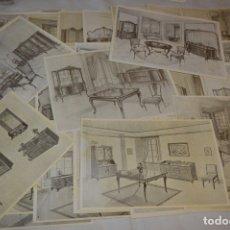 Coleccionismo: 42 LÁMINAS VARIADAS - EXQUISITAS Y ANTIGUAS DE SALONES, ESCRITORIOS ..., CLÁSICOS Y ANTIGUOS ¡MIRA!. Lote 173988902