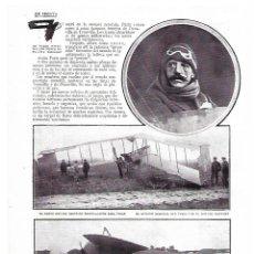 Coleccionismo: AÑO 1913 RECORTE PRENSA AVIACION NUEVO BIPLANO NIEUPORT AVIADOR GELEXEM. Lote 174166460