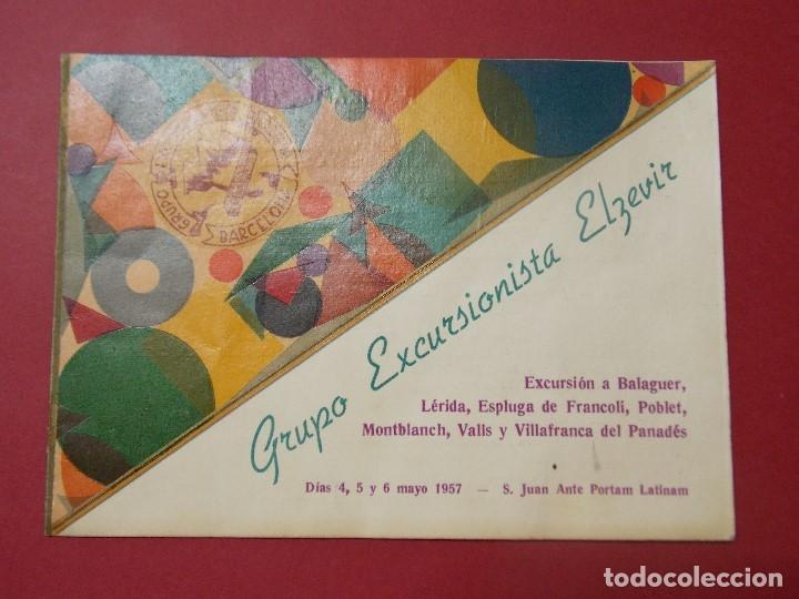 GRUPO EXCURSIONISTA ELZEVIR - BARCELONA - PROGRAMA INTINERARIO AÑO 1957... L283 (Coleccionismo - Laminas, Programas y Otros Documentos)