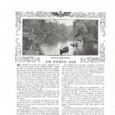 Coleccionismo: AÑO 1913 RECORTE PRENSA ALEMANIA BERLIN AM NEUEN SEE ESCENAS BERLINESAS LAGO COMO JULIO CAMBA. Lote 174690259