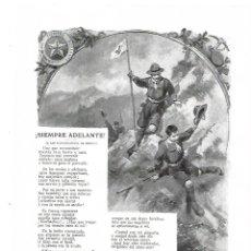 Coleccionismo: AÑO 1913 RECORTE PRENSA POESIA SIEMPRE ADELANTE JOSE JACKSON VEYAN DIBUJO REGIDOR SOLDADOS. Lote 174691982