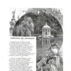 Coleccionismo: AÑO 1913 RECORTE PRENSA POESIA JARDINES DE ARANJUEZ ANDRES GUILMAIN DIBUJO REGIDOR ILUSTRACION. Lote 175458569