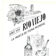Coleccionismo: AÑO 1954 RECORTE PRENSA PUBLICIDAD BEBIDAS JEREZ SECO RIO VIEJO PEDRO DOMECQ. Lote 175513993