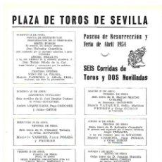 Coleccionismo: AÑO 1954 RECORTE PRENSA PUBLICIDAD PROGRAMA PLAZA TOROS SEVILLA CORRIDAS NOVILLADAS FERIA ABRIL. Lote 175549587