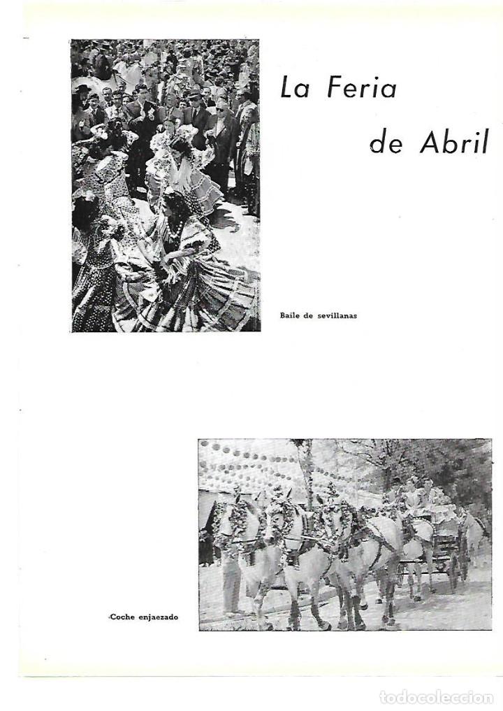 AÑO 1954 RECORTE PRENSA SEVILLA LA FERIA DE ABRIL COCHE ENJAEZADO BAILE SEVILLANAS PAREJAS A GRUPA (Coleccionismo - Laminas, Programas y Otros Documentos)