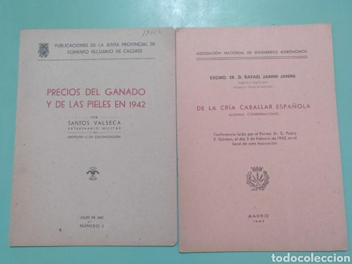 Lote Precios del ganado y de las pieles 1942. Cáceres. De la Cría caballar española Madrid 1943, usado segunda mano