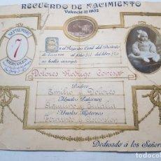 Collectionnisme: RECUERDO DE NACIMIENTO 1932 VALENCIA CURIOSO. Lote 175881479