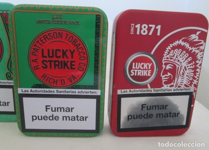 Coleccionismo: Cinco cajas de lata para cigarrillos Lucky Strike. Diferentes. - Foto 7 - 176027114