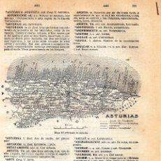 Coleccionismo: ANTIGUA LÁMINA SALVAT - MAPA DEL PRINCIPADO DE ASTURIAS - CAMINOS MUNICIPALES -EN CONSTRUCIÓN FERROC. Lote 176273618