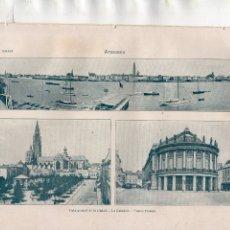 Coleccionismo: ANTIGUA LÁMINA SALVAT - AMBERES - VISTA GENERAL - LA CATEDRAL - TEATRO FRANCÉS. Lote 176275770