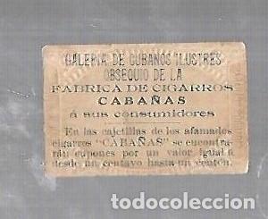 Coleccionismo: ANTIGUO CROMO. CIGARROS CABAÑAS. CUBANOS ILUSTRES. PATRIOTA. JUAN G.GOMEZ - Foto 2 - 176319277