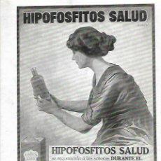 Coleccionismo: AÑO 1919 RECORTE PRENSA PUBLICIDAD HIPOFOSFITOS SALUD. Lote 176388629
