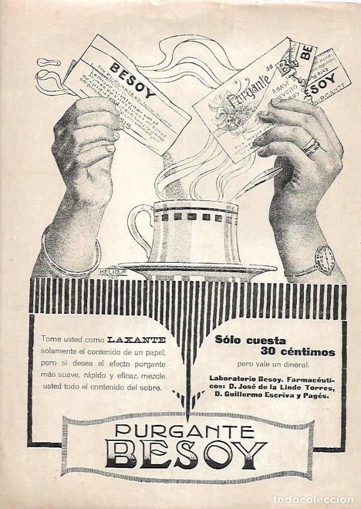 AÑO 1919 RECORTE PRENSA PUBLICIDAD PURGANTE LAXANTE BESOY (Coleccionismo - Laminas, Programas y Otros Documentos)