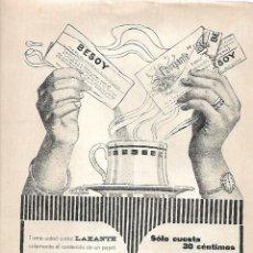 Coleccionismo: AÑO 1919 RECORTE PRENSA PUBLICIDAD PURGANTE LAXANTE BESOY. Lote 176388693